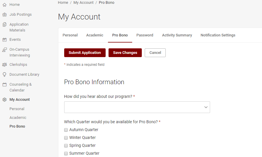 Complete the pro bono pledge before logging hours