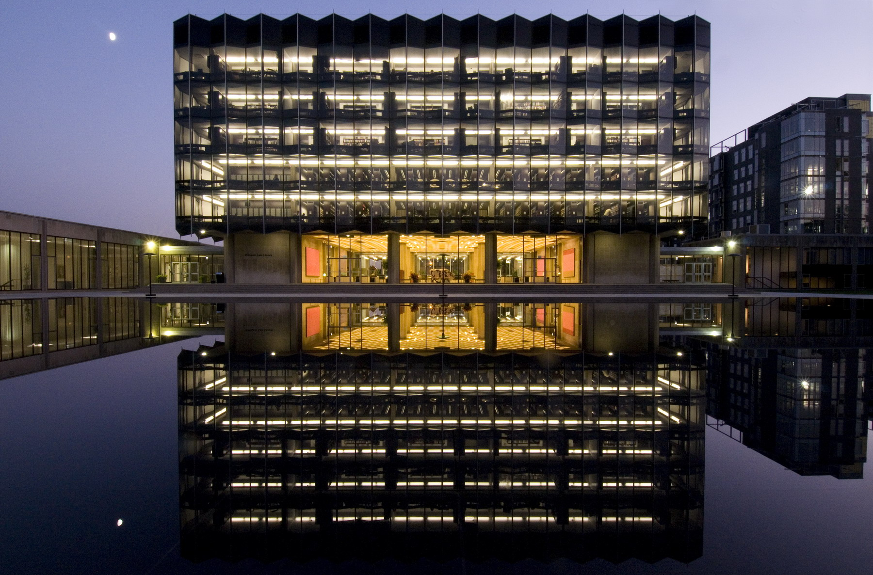 Photo of D'Angelo Law Library at night