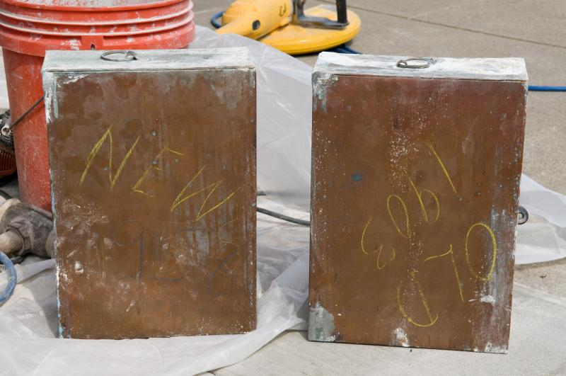 "The cornerstone contained two copper boxes, soldered shut. One was labeled ""Old 1903"" (containing the contents of the 1903 Stuart Hall cornerstone which had been reinterred in 1958) and one was labeled ""New 1958"" (containing the items newly placed)."