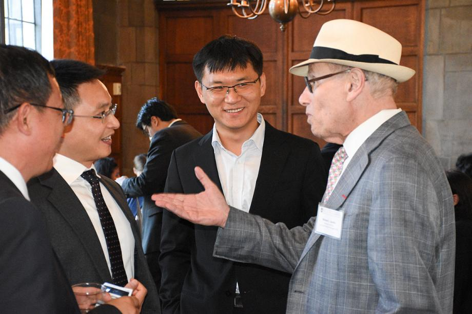 At the Quad Club, they mingled with and heard a talk by Dr. Richard Sandor, the Aaron Director Lecturer in Law and Economics and Chairman and CEO of Environmental Financial Products.