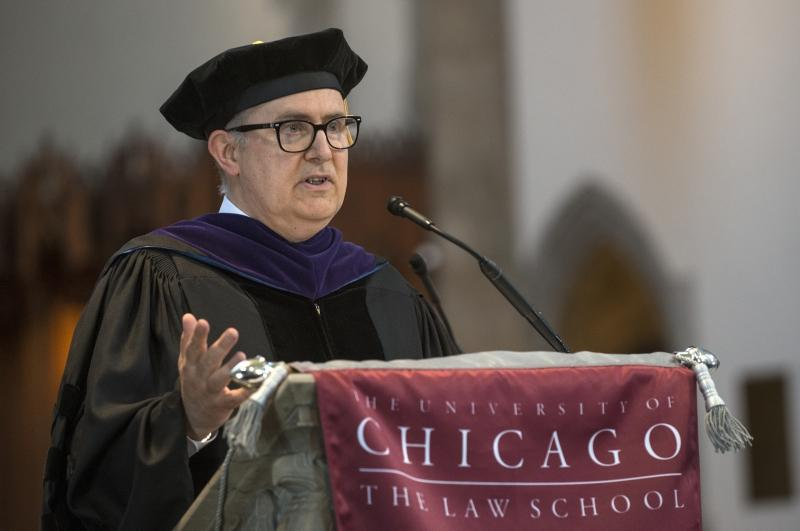 Richard McAdams, Bernard D. Meltzer Professor of Law, addressed the Class of 2017 and invoked graduates Sophonisba Breckinridge, '1904, Earl B. Dickerson, '20, and Abner Mikva, '51.