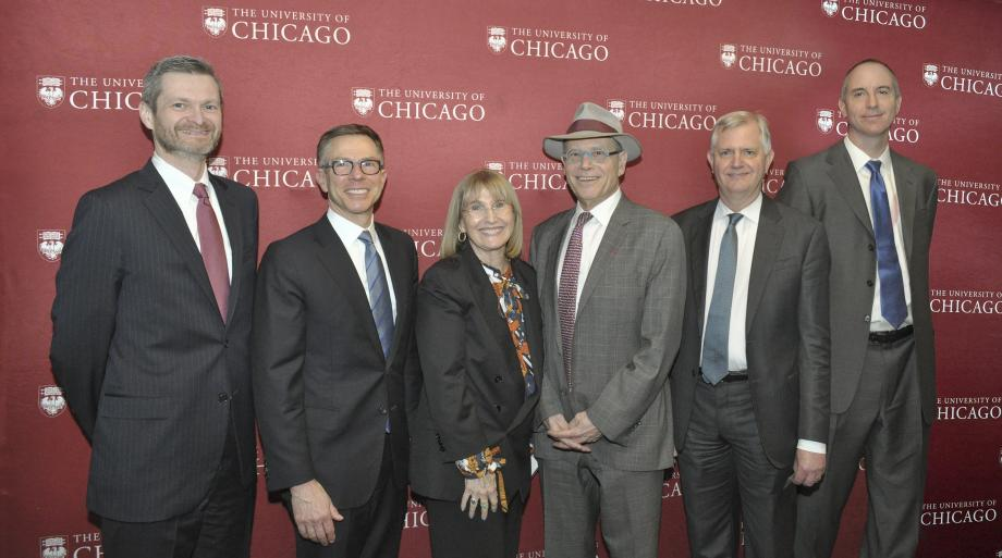 From left: Thomas J. Miles, Randall Kroszner, Ellen Sandor, Richard Sandor, David Bowman, and Eric Posner