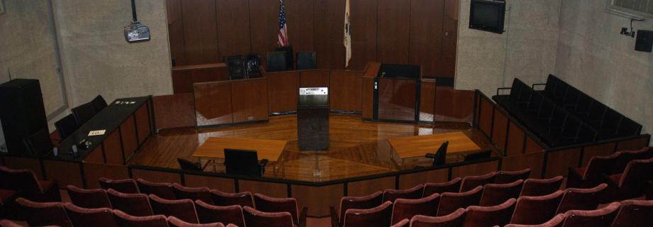 Law School courtroom, empty