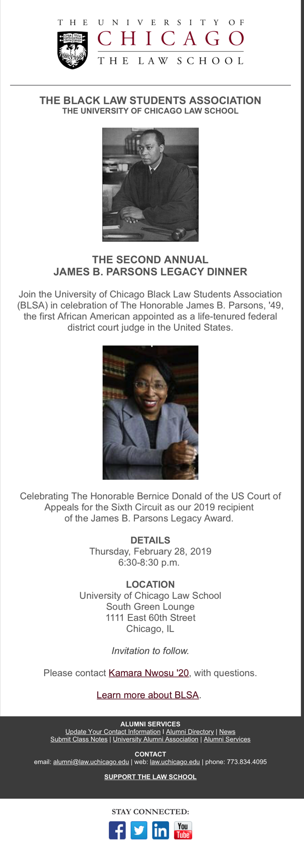 Invitation to Parsons Dinner
