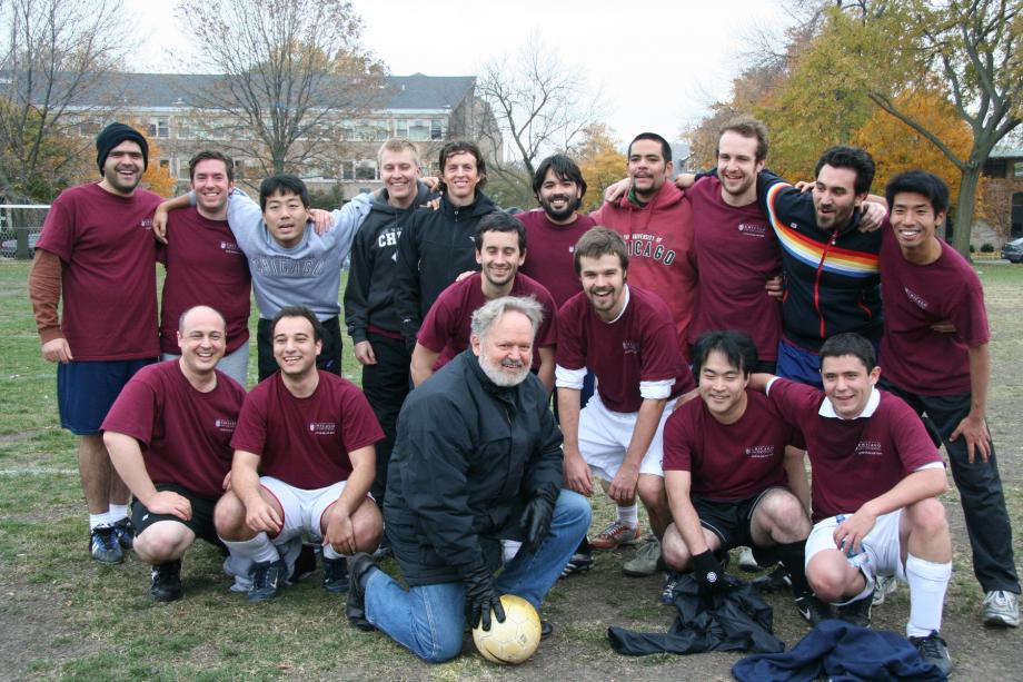 Badger and a group of UChicago LLM students after playing soccer against Northwestern LLM students in 2007.