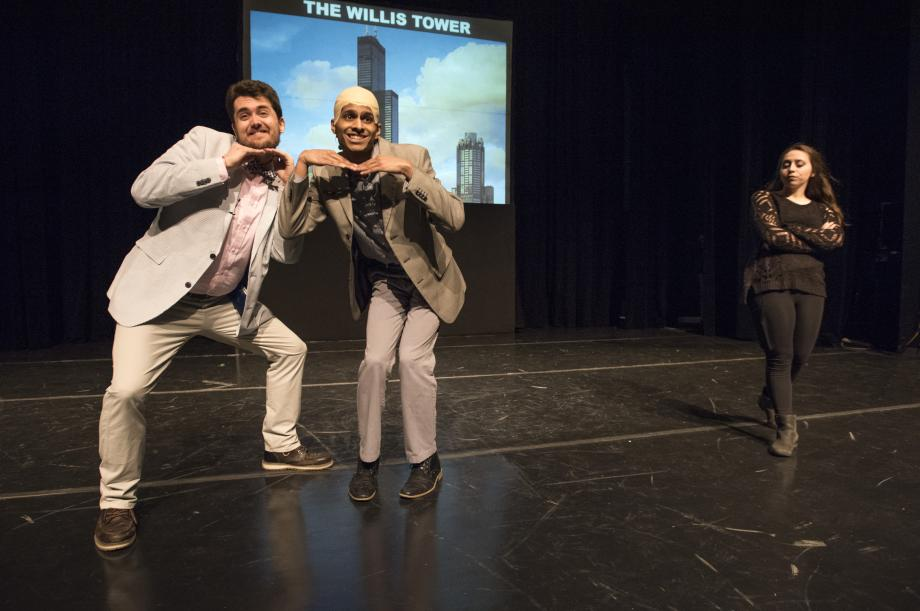 Levmos' henchman (played by David Smith, '20) and Levmos do an embarrassing dance number for Professor Lakier.