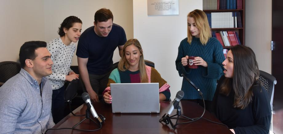 The Law Review's online team, from left: Ianni Drivas, Merav Bennett, Chase Robinett, Eden Bernstein, Alexis Knutsen, and Emily Snoddon. Not shown: David Smith.