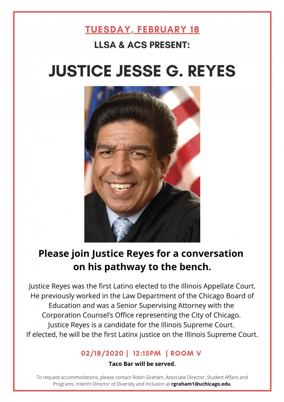 Please join Justice Reyes for a conversation on his pathway to the bench.