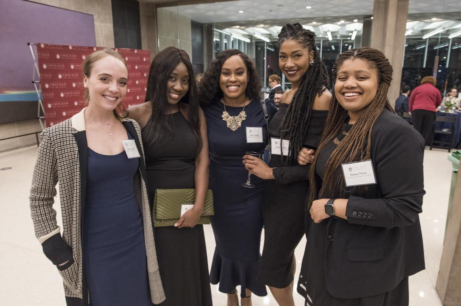 Alexis Grinstead, Tammy Adereti, Amiri Lampley, Savannah West, and Kamara Nwosu, all '20, at the event.