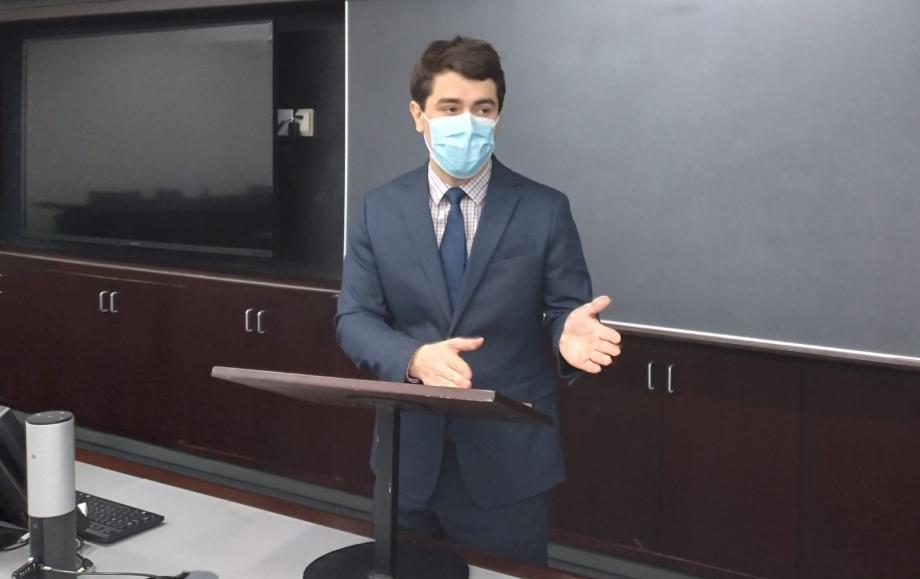 Kirkpatrick practiced his arguments in a Law School seminar room.