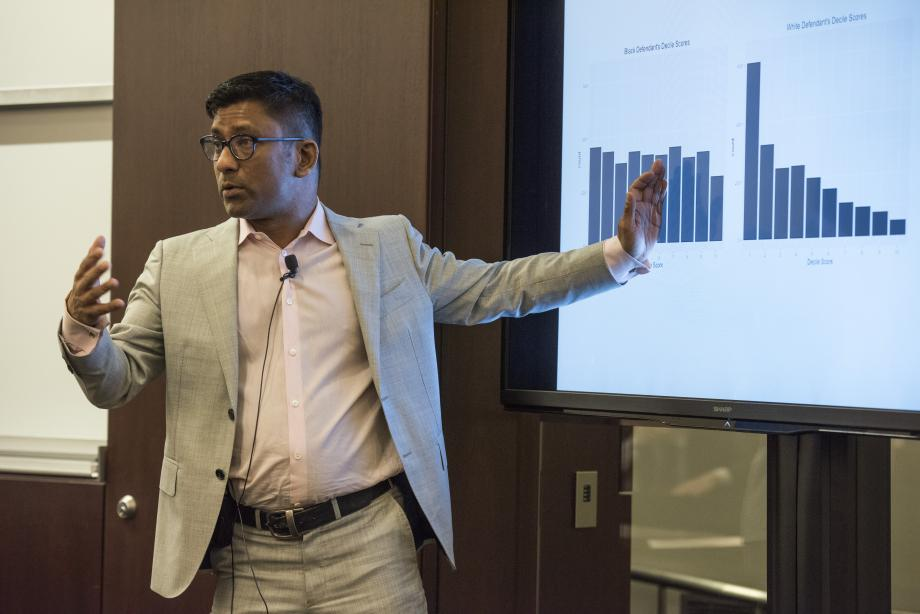 "Professor Aziz Huq presented a faculty masterclass titled ""Racial Equity in Algorithmic Criminal Justice."""