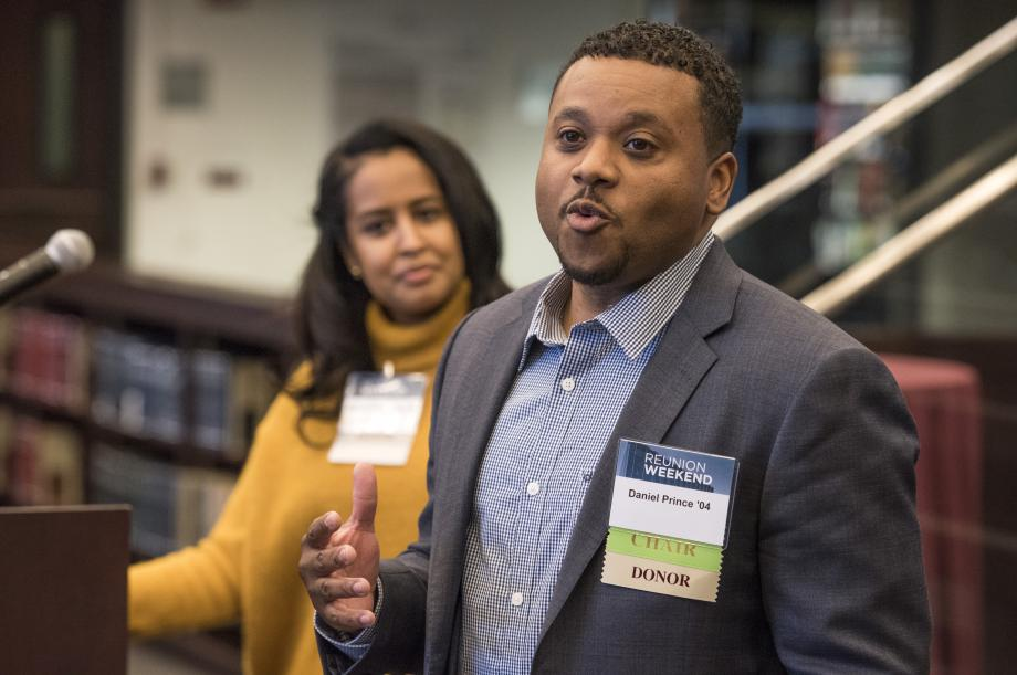Rahwa Ghebre-Ab, '09, and Daniel Prince, '04, spoke to students and alumni at the BLSA reception in the D'Angelo Law Library.