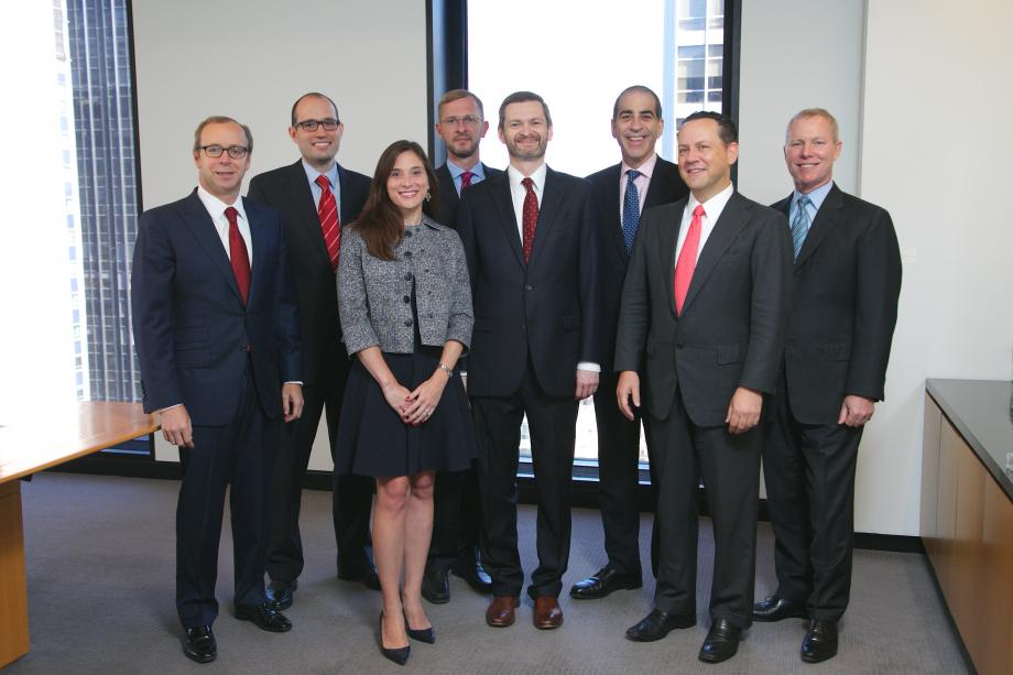 Several Wachtell, Lipton, Rosen & Katz partners, all Law School alumni, with Dean Thomas J. Miles. From left: Andrew J. Nussbaum, '91; Gregory E. Pessin, '05; Alison Zieske Preiss, '06; Martin J.E. Arms, '98; Miles; Adam O. Emmerich, '85; David C. Karp, '93; and Marc Wolinsky, '80.