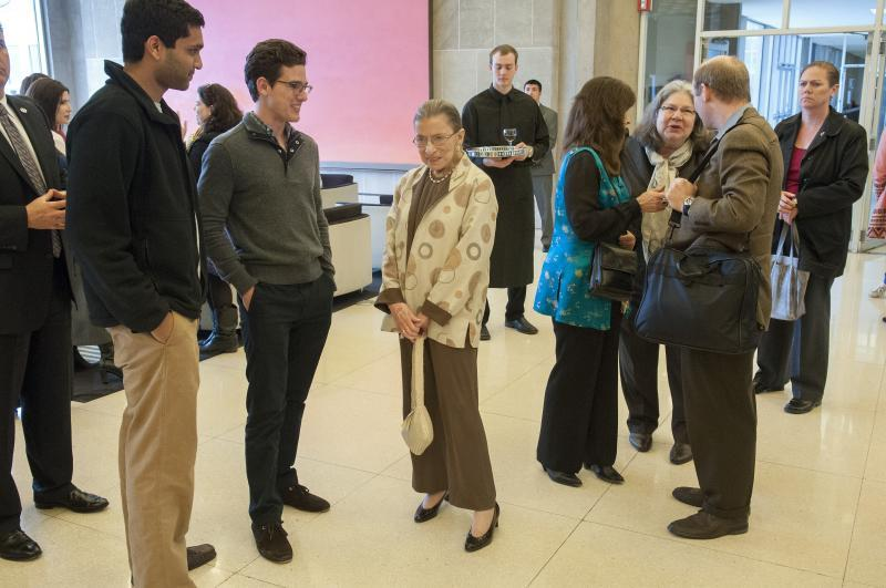 After the talk, Ginsburg mingled with students in the Green Lounge.
