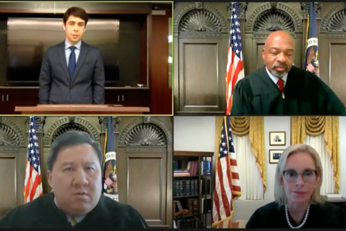 Kirkpatrick (upper left) argued via Zoom before three judges on the US Courts of Appeals: James E. Graves Jr. (upper right) and Judge James C. Ho, '99, (bottom left) of the Fifth Circuit and Judge Kim McLane Wardlaw (lower right) of the Ninth Circuit