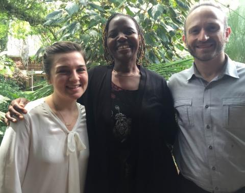 Kaitlin Beck, '17, (left) and Brian Citro, then the clinic's associate director, meet with an activist in Zimbabwe in 2016.