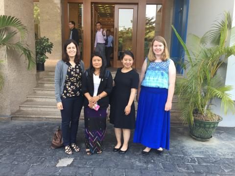 Claudia Flores, Amanda Ng, '17, and Alli Hugi, '18, meet with an activist in Myanmar in 2017.