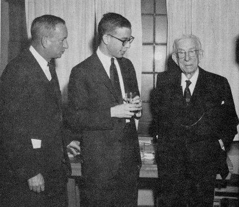 Frank, '23, Denny, '59, and Isaac Mayer at the Law School's Mayer Lecture in 1959.