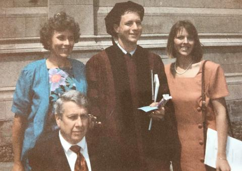 Greg Mayer, '93, with his wife and her parents on his Law School graduation day.