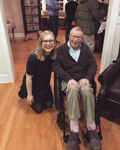 "Elisabeth Mayer, '20, and her grandpa, Frank ""Denny"" Mayer, '59"