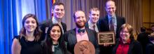 From left: Kristin Levin, '19; Alisha Patel, '19; Walter Pelton, '19; Chapter President Eric Wessan, '19, winner of the Patrick Henry Award for Leadership; Jeremy Rozansky, '19; Samuel Bray, '05, winner of the Joseph Story Award; and Lee Liberman Otis, '83, a founding director of the Federalist Society, a founder of the Chicago chapter, and the national organization's senior vice president and faculty division director.