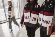 "Scarves printed with ""JD-MBA"""
